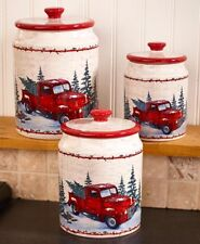 3 Vintage Red Country Pickup Truck Christmas Kitchen Canister Set
