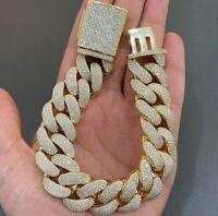 "Men's 16mm x 8"" Round Sim Diamond Cuban Link Bracelet in 14k Yellow Gold Plated"