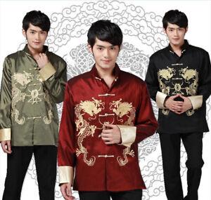 Chinese Traditional  Clothing Dragon Men Hanfu Jacket Coat Tang Suit