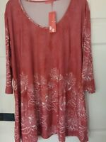 Sunflower by Firmiana ladies tunic top plus size US1X UK 16/18 orange floral