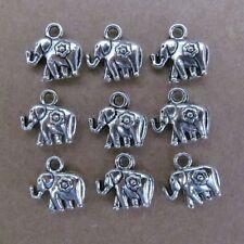 PJ60 15pc 12mm Tibetan Silver Dangle Charm Double-sided Beads Elephant Animals