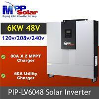 MPPT solar inverter 6000w 48vdc 80A Split phase  dual mppt LV6048