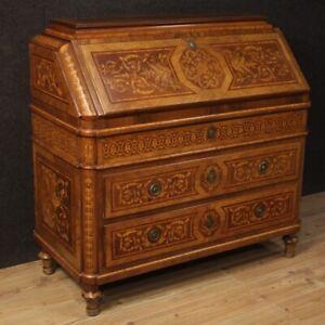 Fore Secretary Desk Secrétaire Dresser Wooden Antique Style Louis XVI Beetles