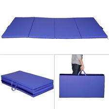 8FT Folding Gymnastics Tumble Floor Mat Yoga Exercise Fitness Pilates Gym Blue