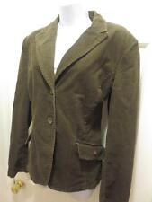 ST. JOHN MARIE GRAY Womens BROWN CORDUROY Leather Patches BLAZER Jacket L Large