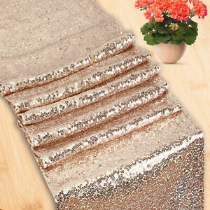 """Rose Gold Glitter Sequin Table Runners 12"""" x 108"""" Sparkly Wedding Party Decor"""