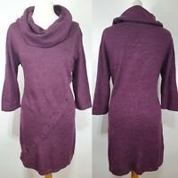 Joe Browns Purple Plum Jumper Dress Oversized Cowl Neck Size 12