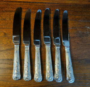 Good Vintage set Six Silver Plated Handled Kings Pattern Dessert Knives