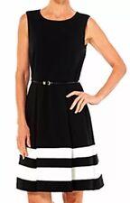 Calvin Klein Black White Women's Plus Size 22W Dress Pleated Sleeveless Belt $99