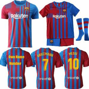 21/22 Barcelona Kids Adults Messi 10 Home Kit Customize Shirts