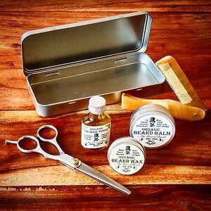 Organic Beard Oil, Balm, Wax, Comb, Scissors & Tin Grooming Kit by Revered Beard
