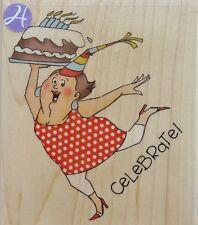 CELEBRATE! Rubber Stamp PS0919 Hampton Art Brand NEW! Art Impressions cake party