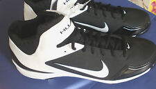 NIKE HUARACHE AIR~Black & White Metal BASEBALL CLEATS~Mens 16~Brand New!!