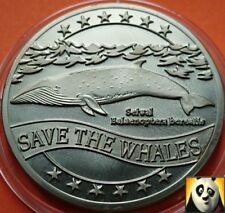 1995 WWF Sei Whale Balaenoptera Borealis Ecu for Nature Coin Medal Crown Size