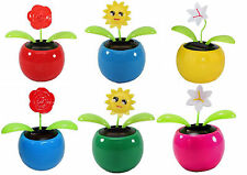 Set of 6 ~2 Roses 2 Smiley Face 2 Lily in Assorted Color Pots Solar Toy Flowers