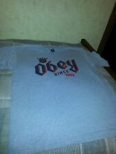 OBEY MENS XL XLARGE short sleeve shirt GRAY COTTON/POLYESTER