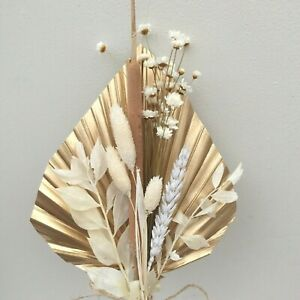 Bright Gold Dried Palm Spear Mini Posy Dried Flowers, CAKE TOPPER