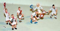 6 Tennis players F249 UNPAINTED OO Scale Langley Model Kit People Figures Metal