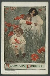 c.1907-09 Postcard BESSIE WILLCOX SMITH Artist Signed AMONG THE POPPIES