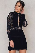 FOR LOVE & LEMONS  (S) LOLA ROSE LACE-UP BLACK MINI DRESS NWT MSRP$249