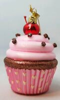 "Cupcake Pink Glass Ornament Birthday Chocolate Dessert Christmas 3.5"" Gift"