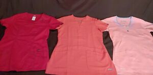 MIXED LOT OF 3 SCRUB TOPS WOMEN SIZED  SMALL  Grey's Anatomy and Dickies