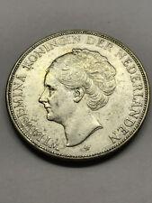 1930 Netherlands 2 1/2 Gulden Silver AU+ #6877