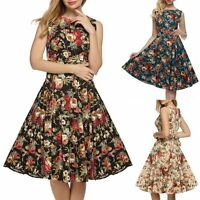 Women Vintage 60S Floral Print Swing Dress Cocktail Party Midi Dress Ball Gown