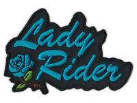 Motorcycle Jacket Embroidered Patch - Lady Rider (Blue) - Female Bikers, Women