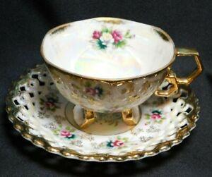 FAN CREST Iridescent Tea Cup & Saucer Set #2647 Roses/Gold Trim Fine China Japan