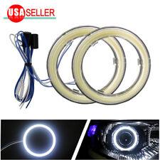 2X New 70mm Pure White COB LEDs Angel Eyes Halo Ring Fog Housing Lamps 12-24V US