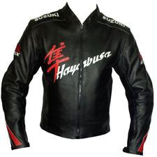 BLACK SUZUKI HAYABUSA MOTORBIKE RACING LEATHER JACKET CE APPROVED
