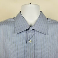 Canali Blue Geometric Striped Mens Dress Button Shirt Size 18/46 Italy Made