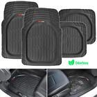 Motor Trend FlexTough 4pc Car Rubber Floor Mats - Heavy Duty All Weather Black