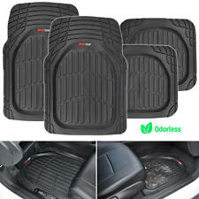 Motor Trend FlexTough 4pc Car Rubber Floor Mats - Heavy Duty All Weather Black