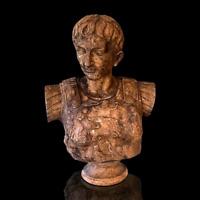 Escultura Busto Julio Cesar Estatua Mármol Blanco Envejecido Marble Escultura A
