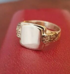 Antique 9ct gold mens signet ring Size Q.5.. Chester Hallmarked,4.3g NOT SCRAP!!