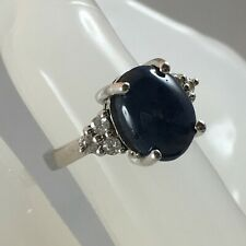 Stunning - Blue Star Sapphire & White Zircon 925 Sterling Silver Ring - 6.59 cts
