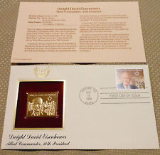 GOLD STAMP REPLICA DWIGHT D EISENHOWER 1ST DAY ISSUE OCT 13 1990