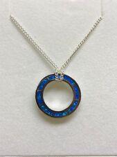 Australian Inlaid Opal Pendant Sterling Silver Setting - Round Ocean Blue
