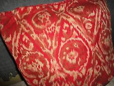 PIER 1 IMPORTS RED CREAM IKAT ROSE & CREAM (1) SQUARE ZIPPERED PILLOW COVER 15""