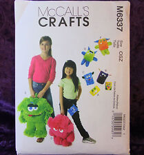 McCall's Craft 6337 Cute Children's MONSTER Toys, Backpacks, Cases Pattern NEW