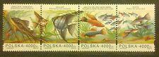 POLAND STAMPS MNH 2Fi3357-60 Sc3212 Mi3505-08 - Aquarium fishes, 1994, **