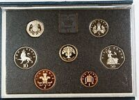1987 United Kingdom Proof Set, GEM UK Coins, 7 Coins Total, With Case and COA