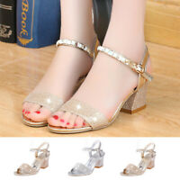 Fashion Women Ladies Fashion Crystal Casual Square Heel Single Shoes Sandals