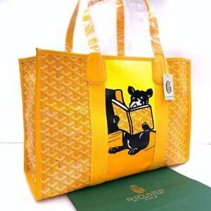 Goyard Tote Bag Villette French Bulldog Dog Animal Yellow Unisex New w Receipt