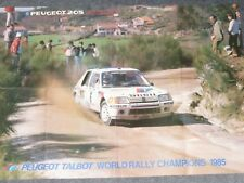 Magazine Poster Peugeot 205 T16 Peugeot Talbot Sport  World Rally Champions 1985