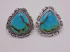 In Sterling Silver- Augustine Largo Handmade Kingman Turquoise Earrings Set