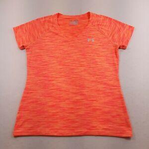 Under Armour Athletic T-Shirt Womens Size Medium Semi Fitted V-Neck Orange Sport