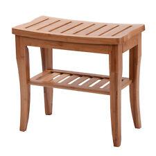 Bamboo Shower Seat Bench Bathroom Spa Bath Organizer Stool with Storage Shelf